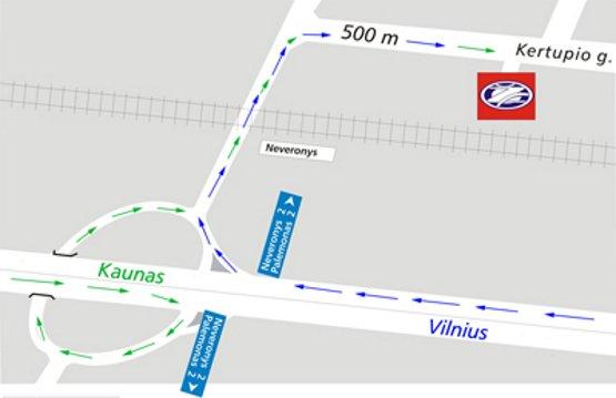 Žukausko autoservisas: atvykimas nuo Kauno ir Vilniaus